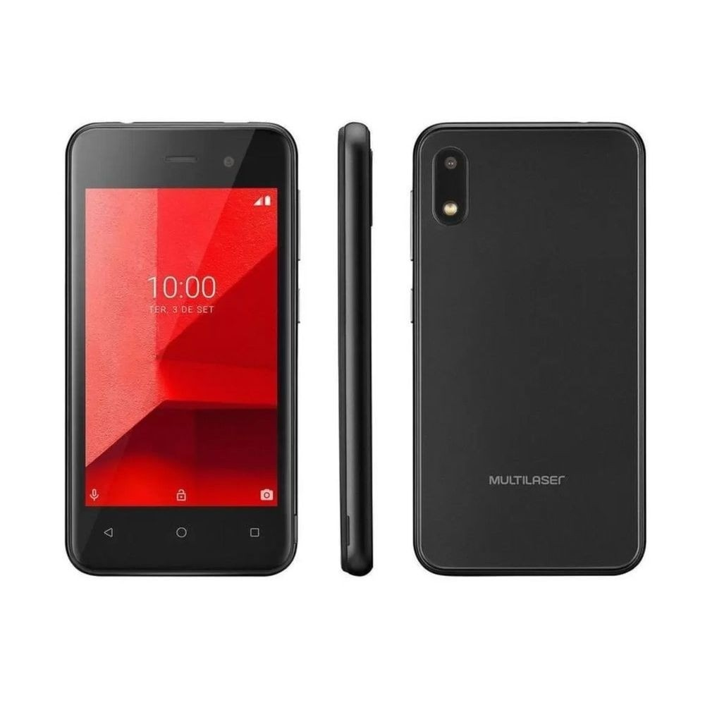 "Smartphone Multilaser E Lite  32GB Preto 3G - Quad-Core 512MB 4"" Câm. 5MP Dual Chip"