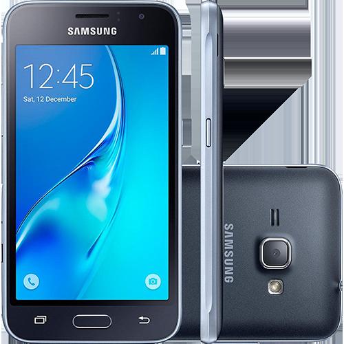"Smartphone Samsung Galaxy J1 2016 Duos Dual CHIP Android 5.1 Tela 4.5"" Memória 8GB WI-FI 3G Câmera 5MP - Preto  - skalla magazine"
