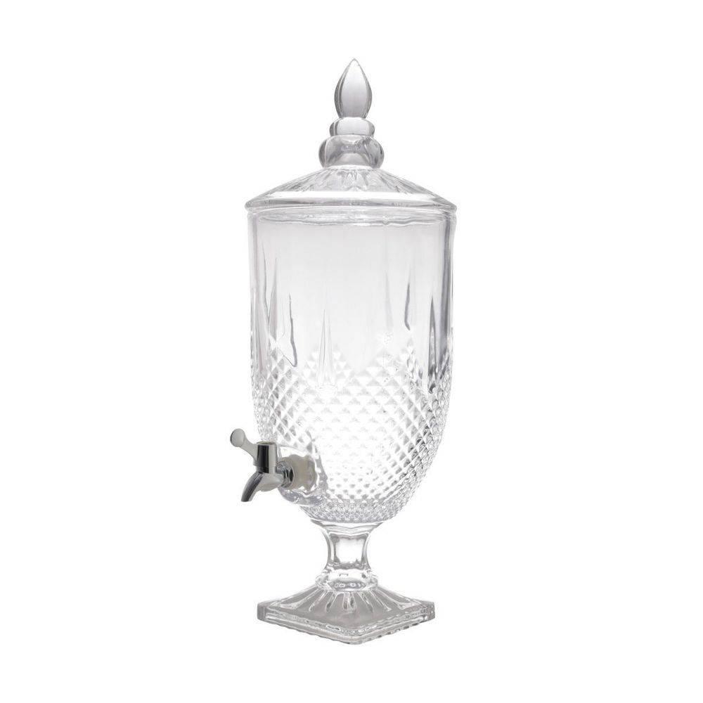 Suqueira de Cristal Diamante  5 litros com 6 taças transparente 275 ml