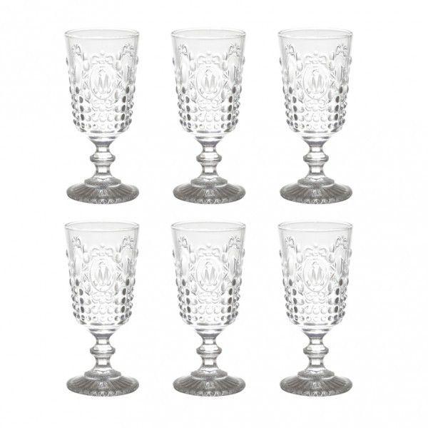Suqueira de Cristal Diamante  5 litros com 6 taças transparente 275 ml  - skalla magazine