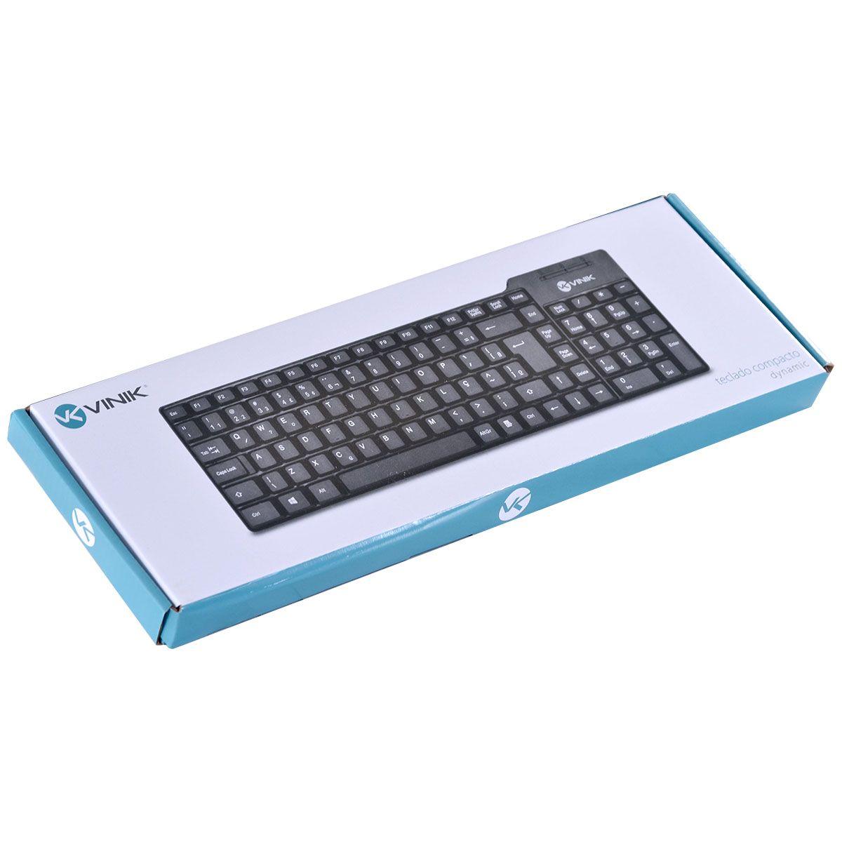 TECLADO COMPACTO USB DYNAMIC ABNT2 1.8M PRETO - DT150  - skalla magazine