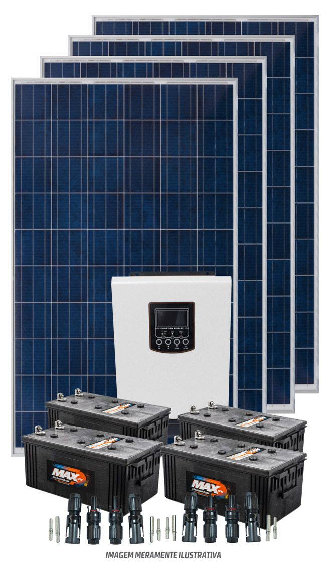 Kit 4800wdia - Inversor Carregador 3000w PWM - Bombeamento Solar 1/2 cv