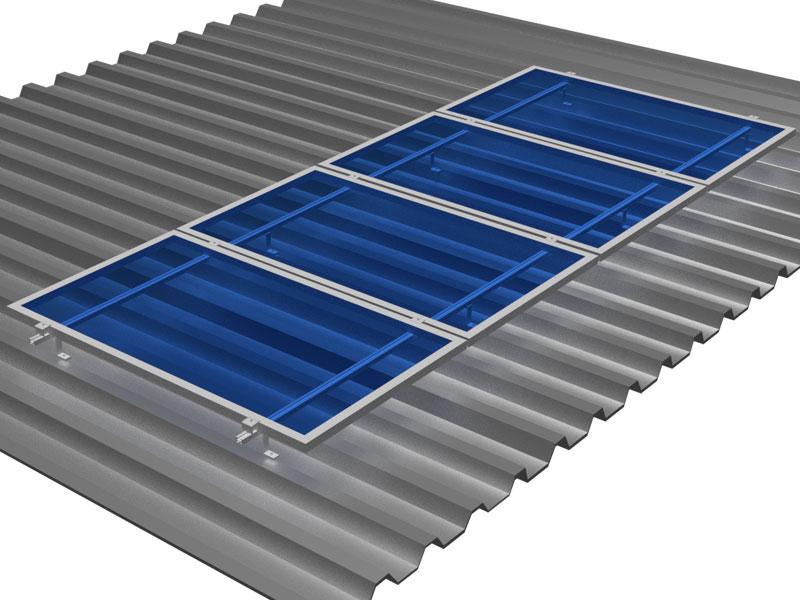 Kit de Fixação para Placa Solar - Para 4 Placas em Telha Metálica