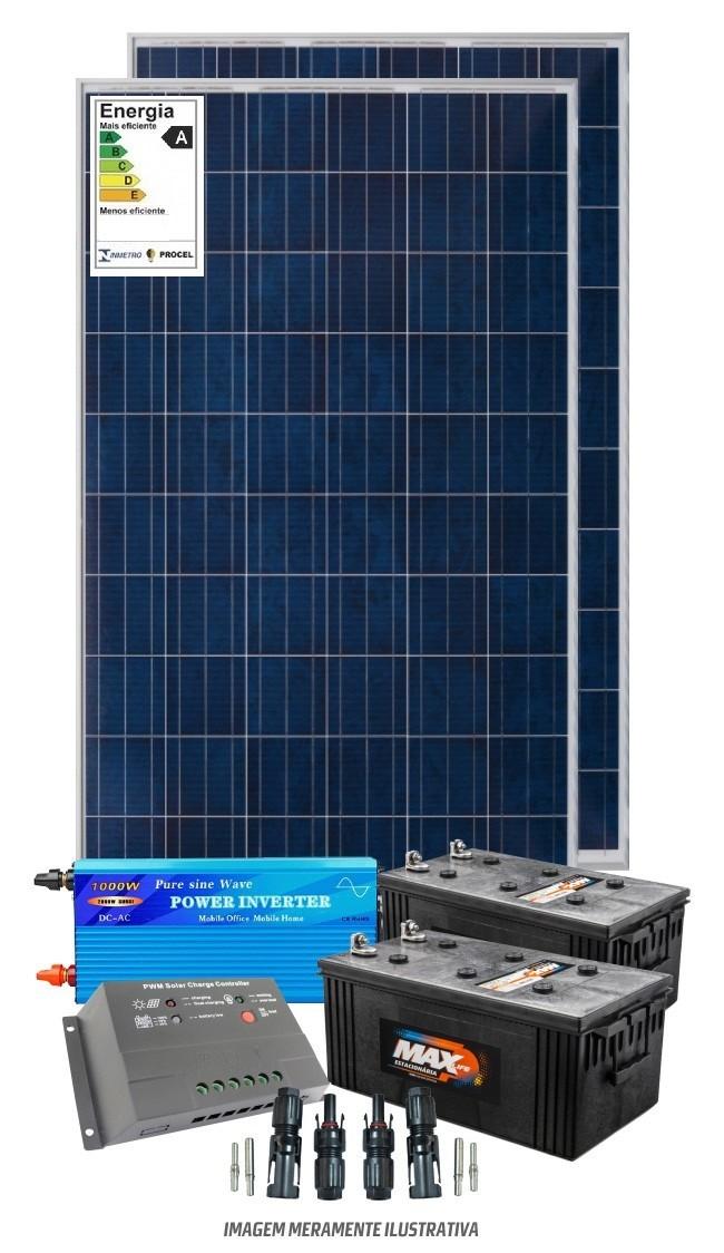 Kit solar 2400w/dia - Inversor Senoidal 1000w/2000w - PWM