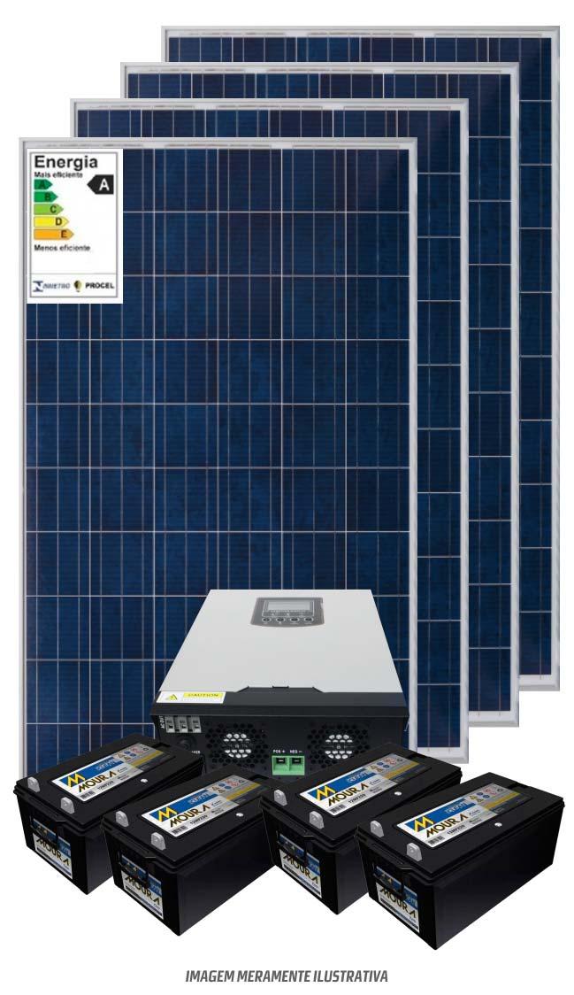 Kit solar 4800w/dia - Inversor Carregador Senoidal 2000W 24v/220v - PWM