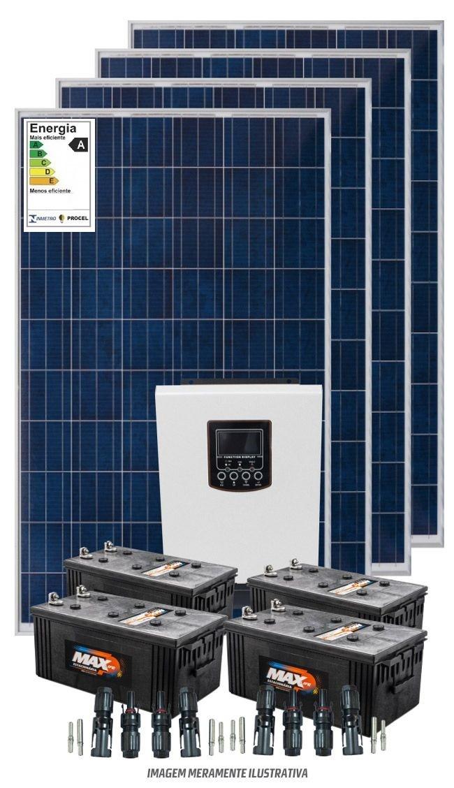 Kit solar 4800w/dia - Inversor Carregador Senoidal 2000W/3000w 24v/220v - PWM