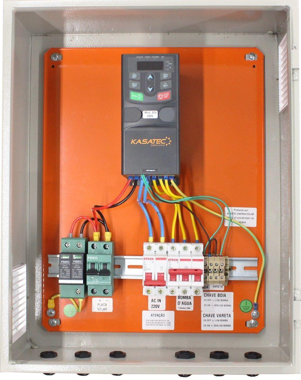 Quadro Elétrico com Inversor Solar para Bomba até 1,5cv/ Trif 220V    - Kasatec Energia Solar