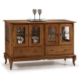 Buffet Balcão Antique com 4 portas, 2 gavetas e 2 prateleiras de vidro - M560510