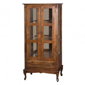 Cristaleira Antique Alta Lateral com 2 portas de vidro e 1 gaveta - 1001