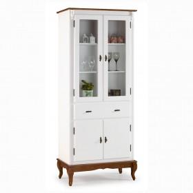 Cristaleira Lateral com 2 portas madeira, 2 portas vidro,  1 gaveta e 2 prateleiras - 1086