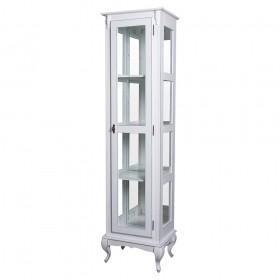 Cristaleira Torre Lateral com 1 porta de vidro e 3 prateleiras, com espelhos - 1077-E