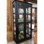 Cristaleira Lateral com Espelhos, 2 portas de vidro e 3 prateleiras - 301E - Laca Preta