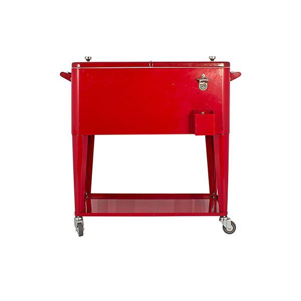 Cooler Antique Vermelho Ferro c/ Rodízio 77x90x46cm