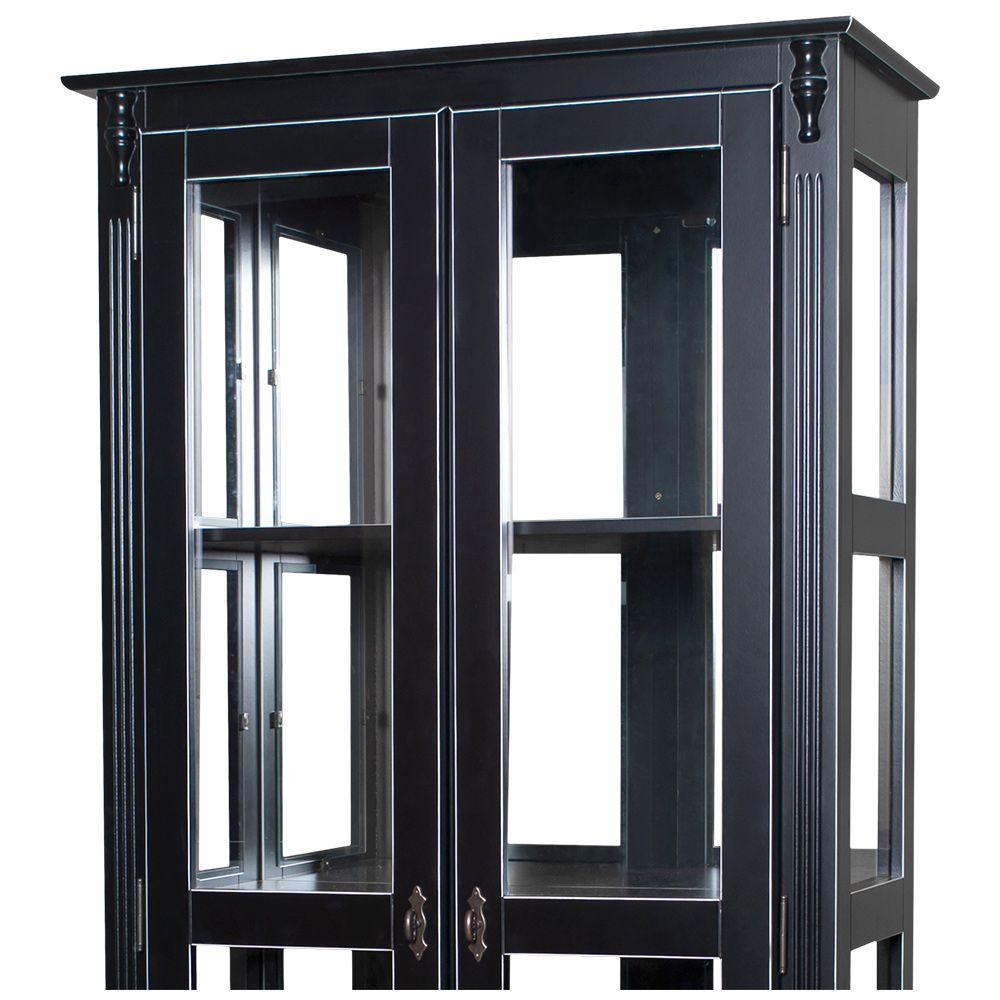 Cristaleira Lateral 2 Portas Vidro 3 Prateleiras com Espelho - M550301E