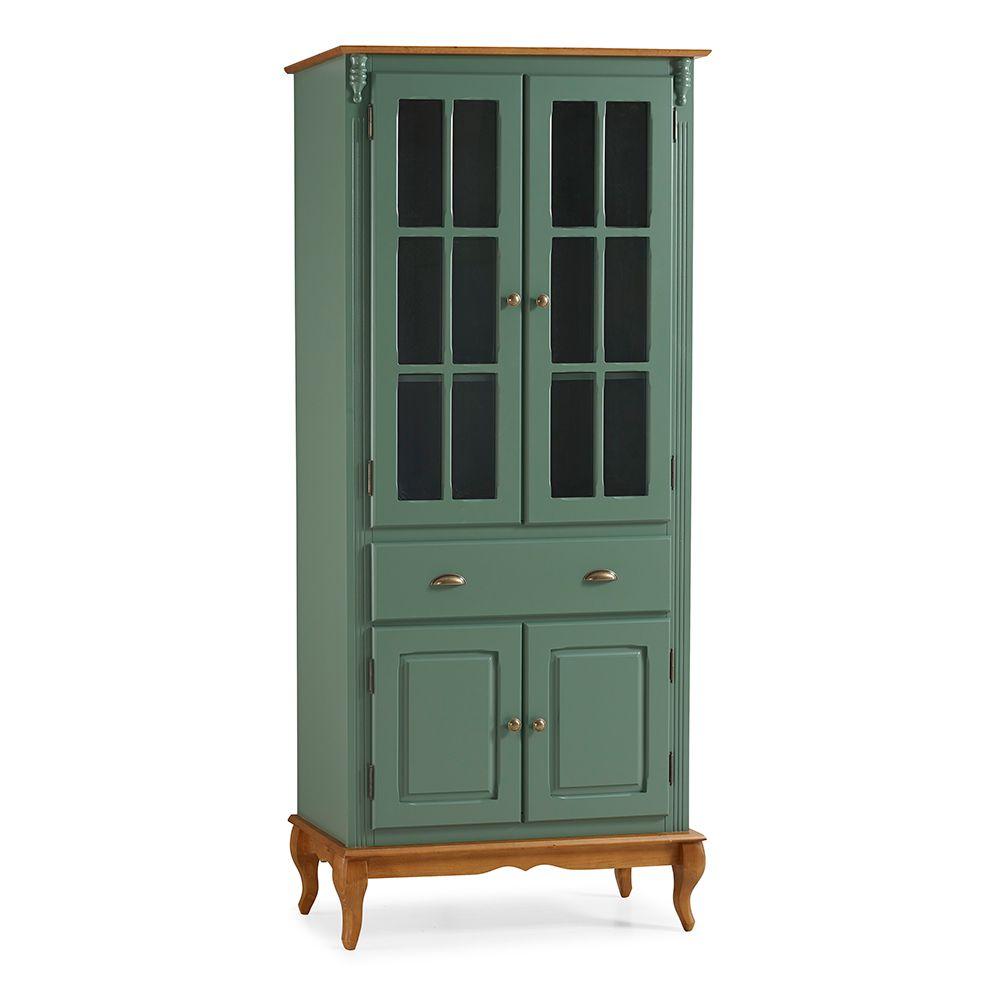 Cristaleira Lateral com 2 portas madeira, 2 portas vidro, 1 gaveta e 2 prateleiras Hannover - M560810