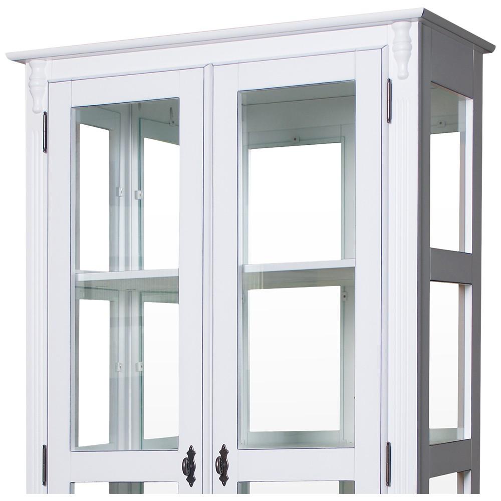 Cristaleira Lateral com Espelhos, 2 portas vidro, 1 gaveta e 3 prateleiras - 303E