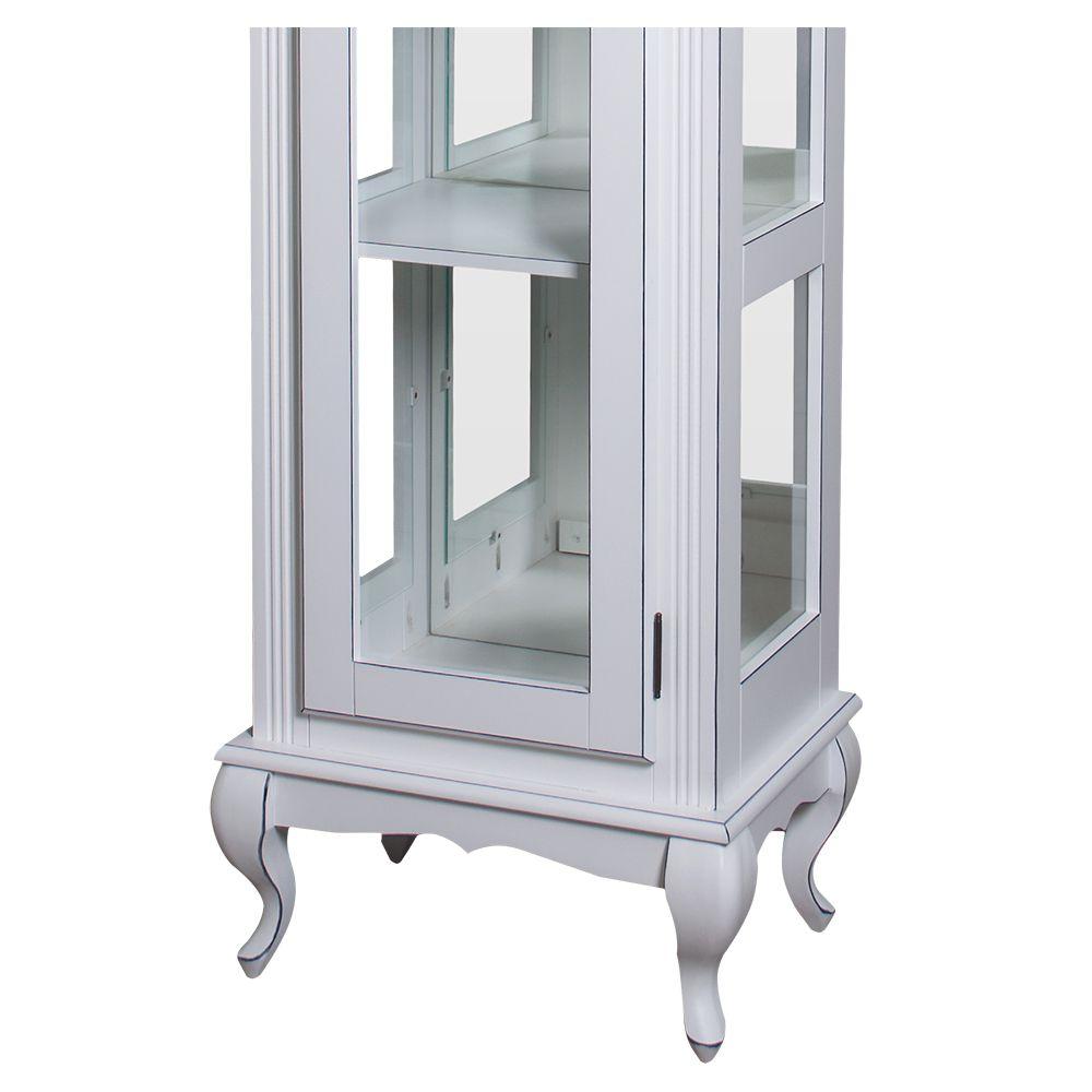 Cristaleira Torre Lateral 1 porta vidro 3 prateleiras - Com Espelho - M560108E