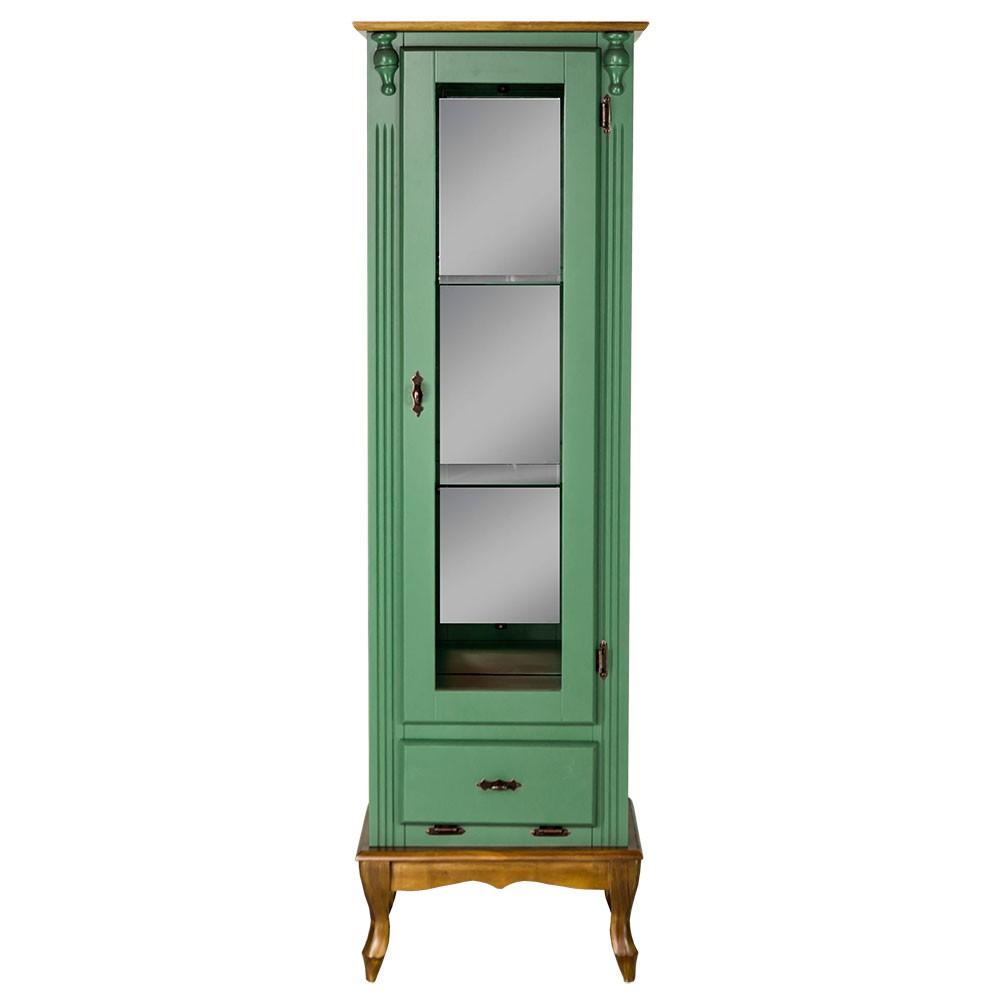 Cristaleira Vitrine Espelhada Antique Média com 1 porta, 2 prateleiras de vidro e 1 gaveta - 1079E