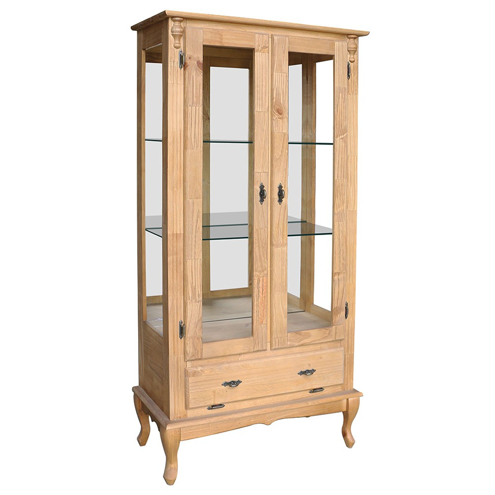 Cristaleira Vitrine Espelhada Antique Média com 2 portas, 2 prateleiras de vidro e 1 gaveta - 1080E