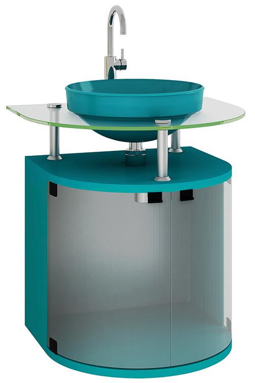 Movel Para Banheiro Azul : M?vel gabinete em mdf para banheiro com vidro