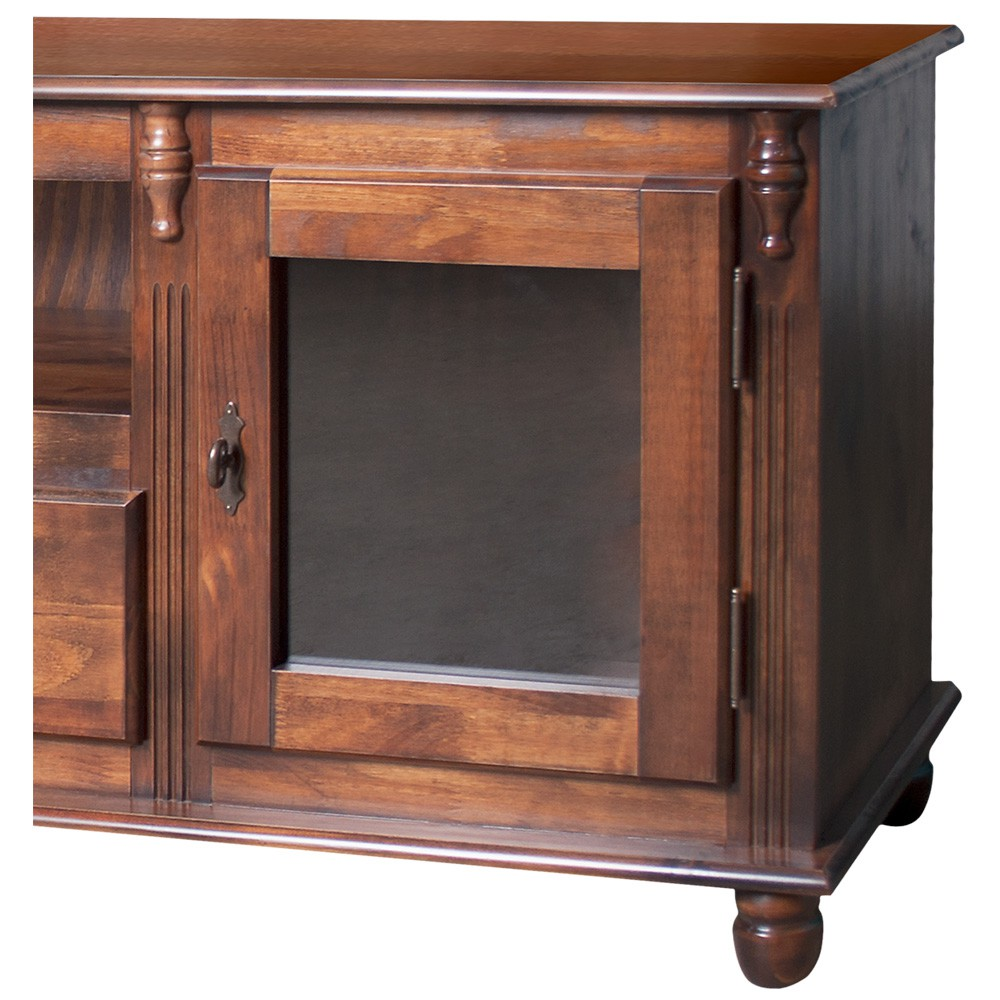 Rack TV com 2 portas, 1 gaveta, nicho e tampo de madeira - 500