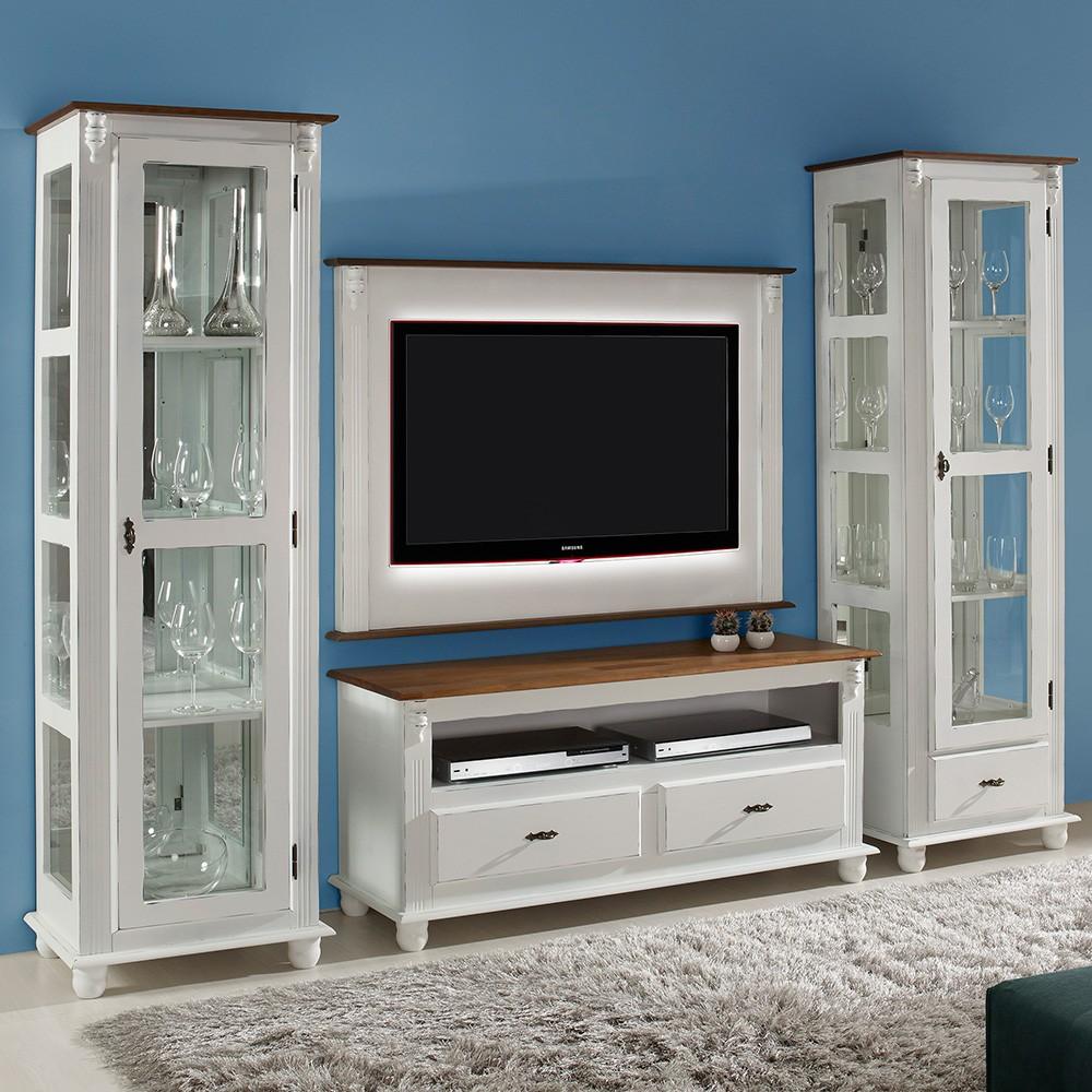 Rack TV com 2 gavetas, nicho e tampo de madeira - 502