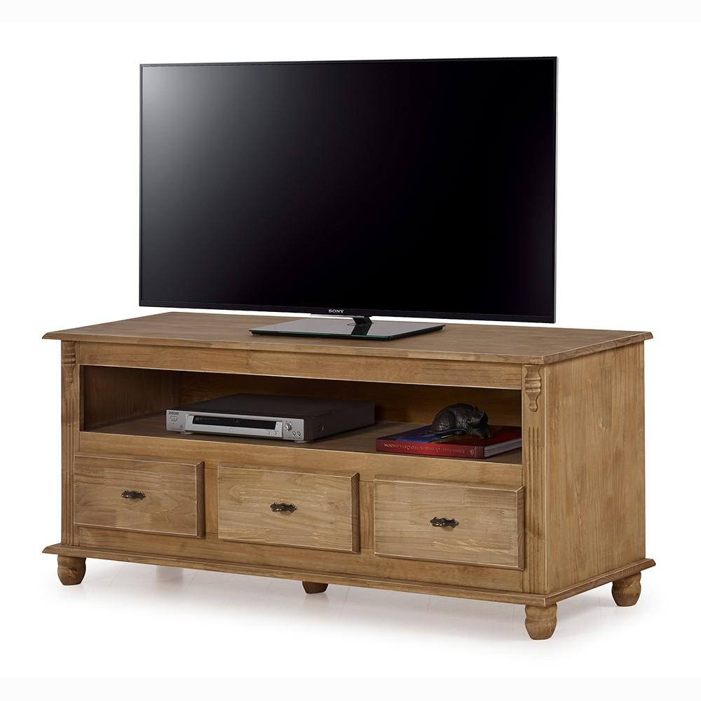 Rack TV com 3 gavetas, nicho e tampo de madeira - 501