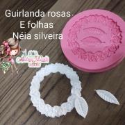 GUIRLANDAS ROSAS E FOLHAS