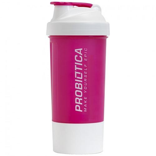 Coqueteleira dois compartimentos rosa com branco 600ml - Probiótica
