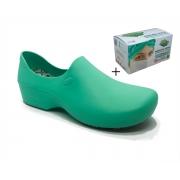 Sapato Antiderrapante Sticky Shoes Verde Hospitalar + Caixa Mascara Protdesc