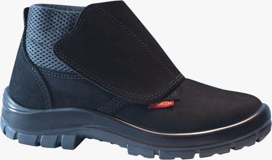 Botina Segurança Nobuck Preto com Velcro Kadesh Bico PVC CA: 16253