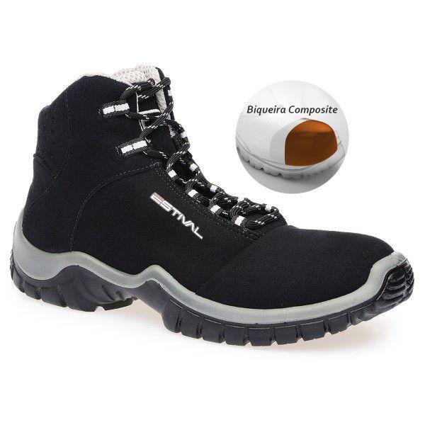 Botina Segurança Preto Bico de Composite Estival EN10073S2 CA 42555