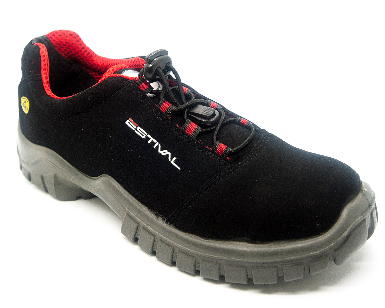Calçado Segurança Microfibra Preto/Vermelho Estival Antiestático EN10021S2A CA 40963