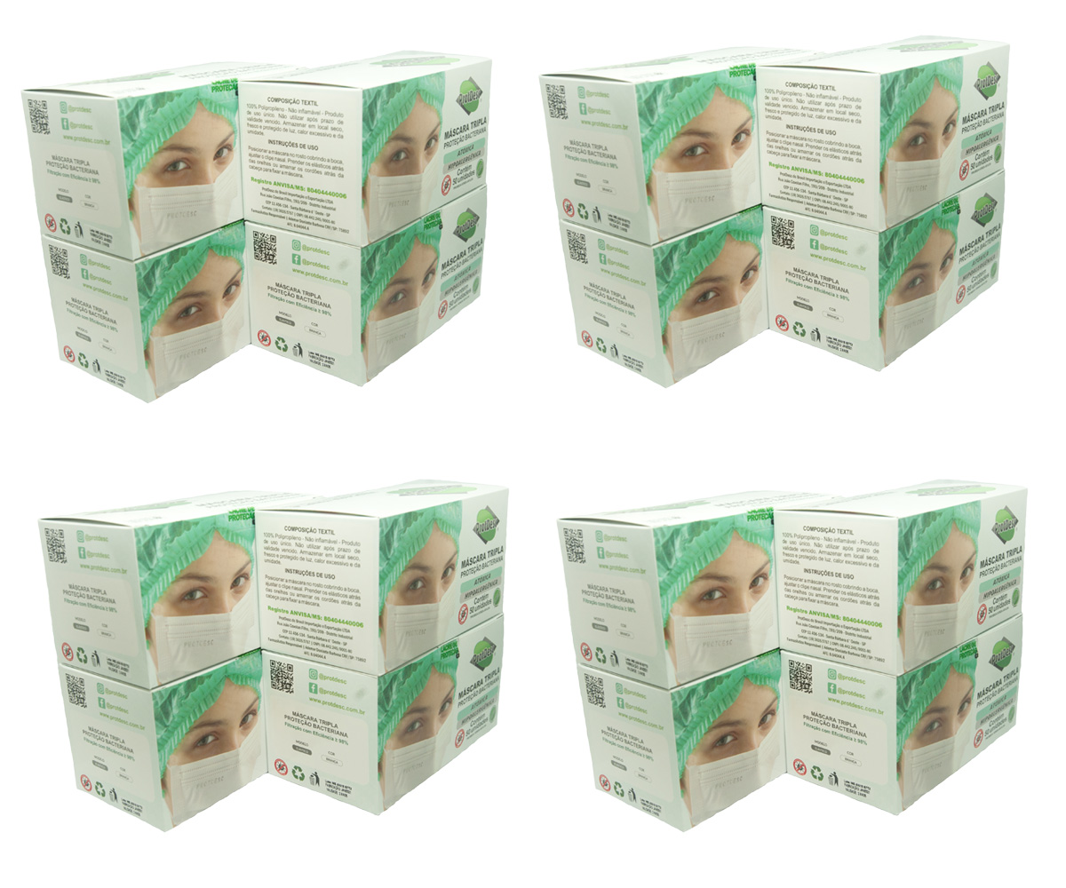 KIT 15 Caixas Mascara Tripla Descartável Proteção Bacteriana Protdesc