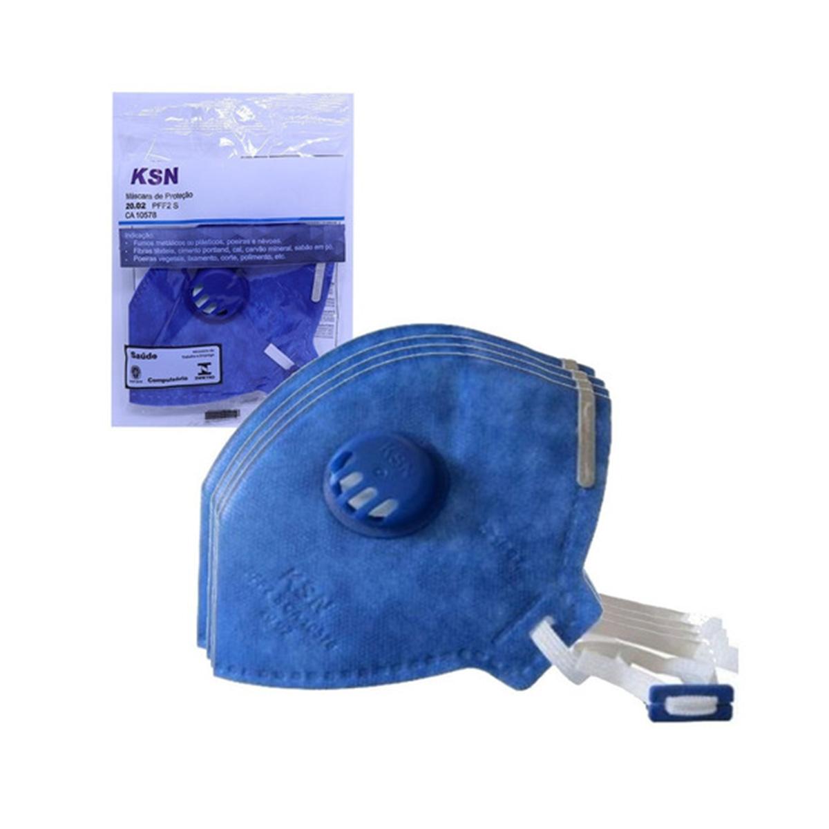 KIT 20 Respirador KSN Descartável Com Válvula  PFF2  CA 10578