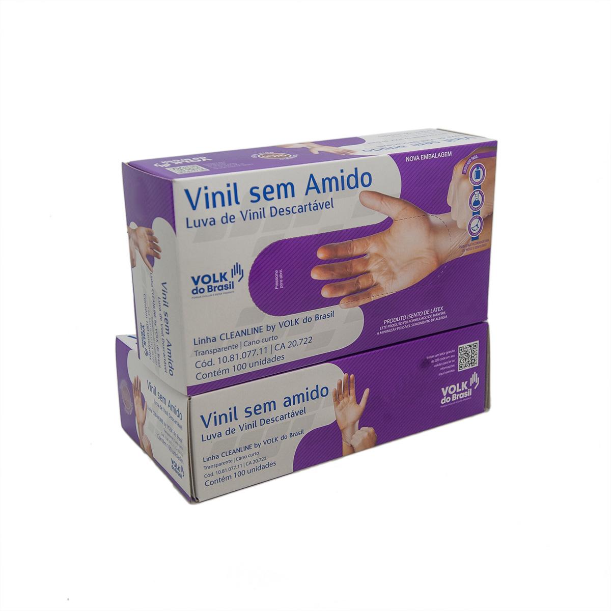 Kit 2 Luva de Vinil sem Amido Transparente Descartavel  CA 20722 Tamanho: P
