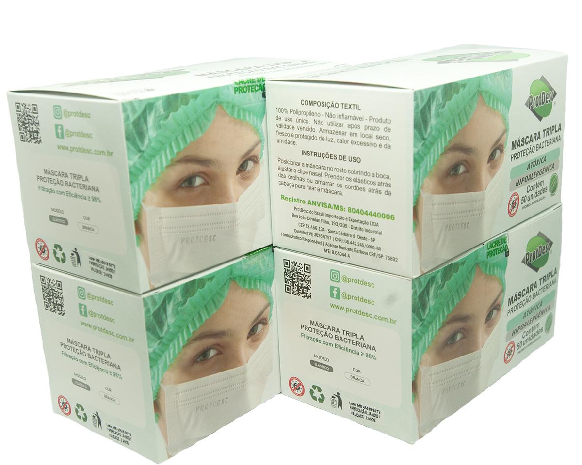 KIT 4 Caixas Mascara Tripla Descartável Proteção Bacteriana Protdesc