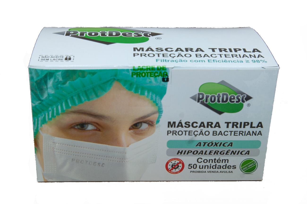 KIT 8 Caixas Mascara Tripla Descartável Proteção Bacteriana Protdesc