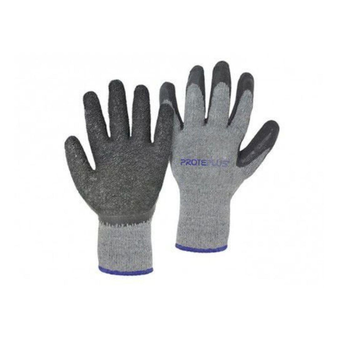 Luva de proteção Tricot Algodão c/ Banho de Latex Corrugada Preta/Cinza Proteplus CA 36929