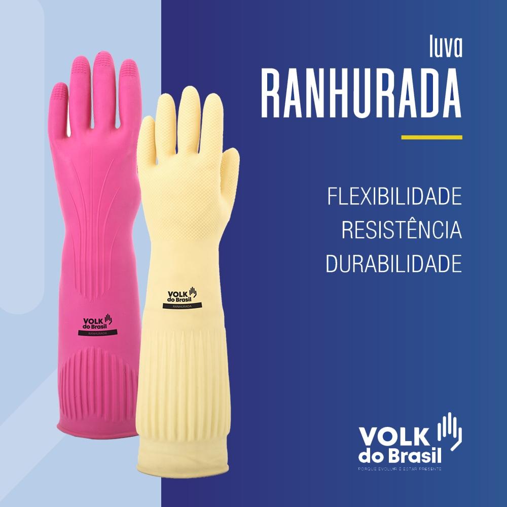 LUVA LÁTEX RANHURADA CA 15100 VOLK DO BRASIL TAM. M