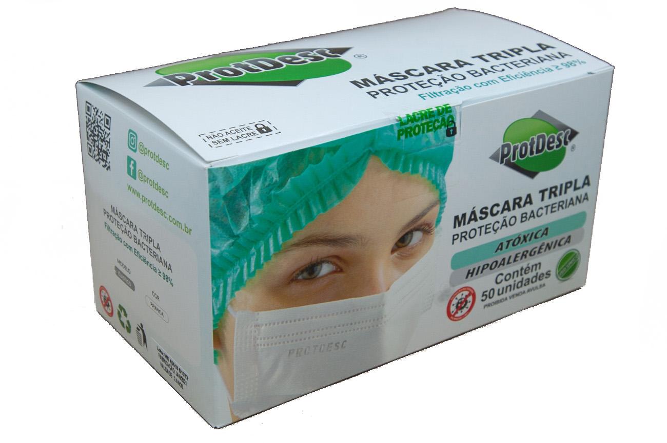 Mascara Tripla Descartável Proteção Bacteriana Protdesc