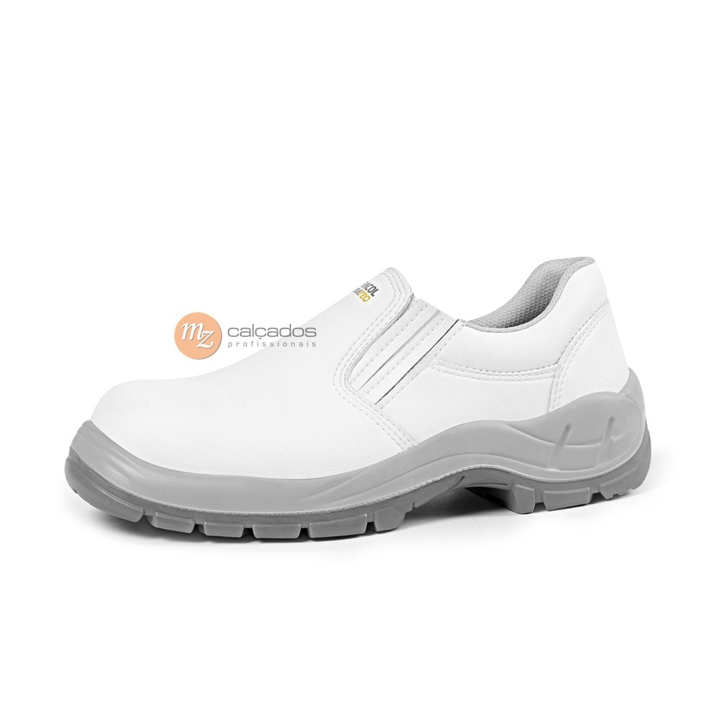 Sapato Segurança Microfibra Branca com Elástico Bracol BSE Bidensidade Bico PVC CA: 29951