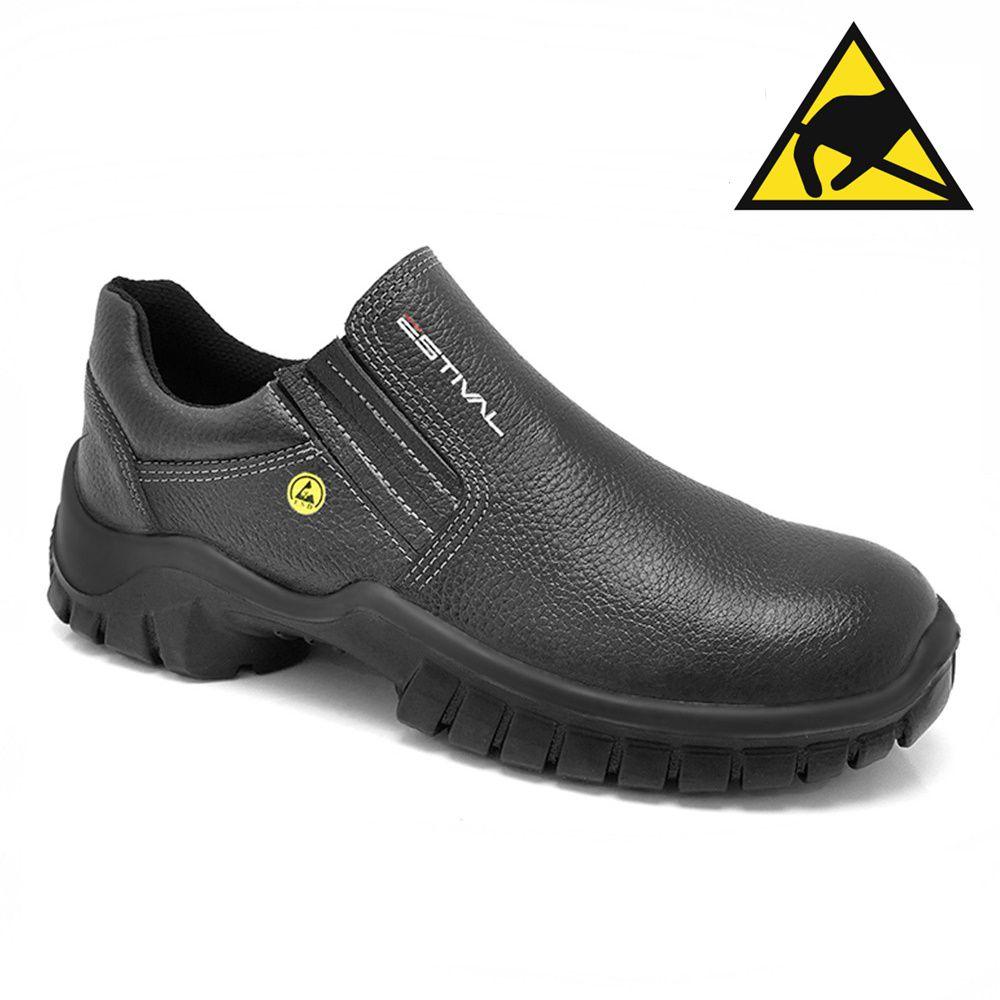 Sapato de Segurança Estival Antiestático WO10023S1A Composite Couro Preto CA 40959