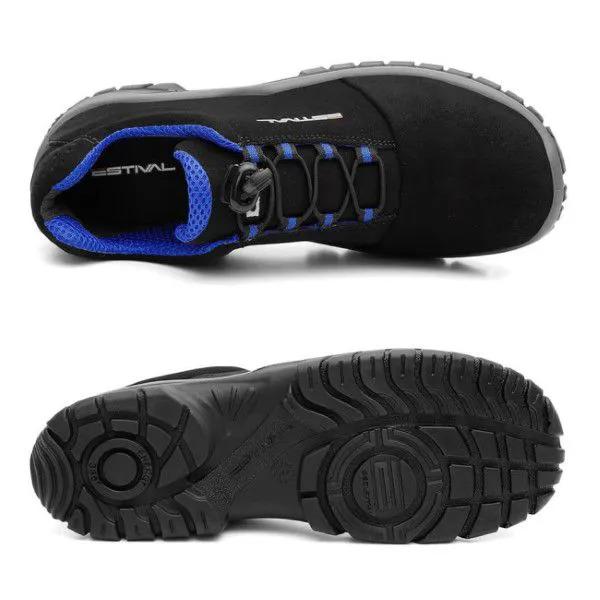 Sapato de Segurança Microfibra Preto/Azul Estival EN10023S2 CA 42554