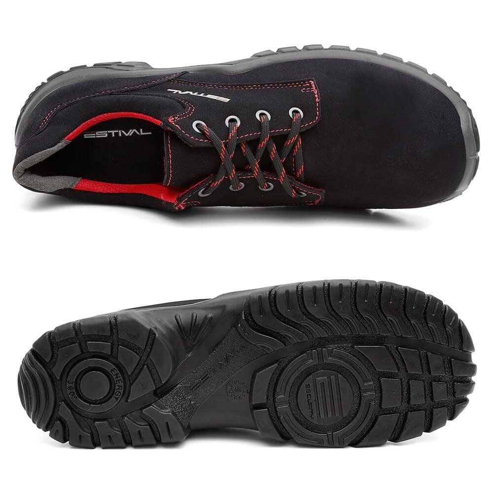 Sapato Segurança Microfibra Preto/Rima Estival WO10041S2 CA 28140