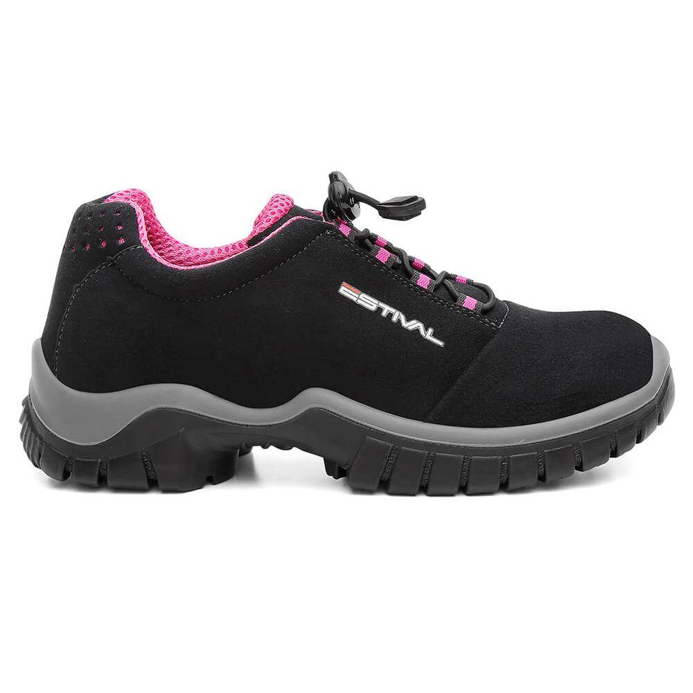 Sapato de Segurança Microfibra Preto/Rosa Estival EN10023S2 CA 42554