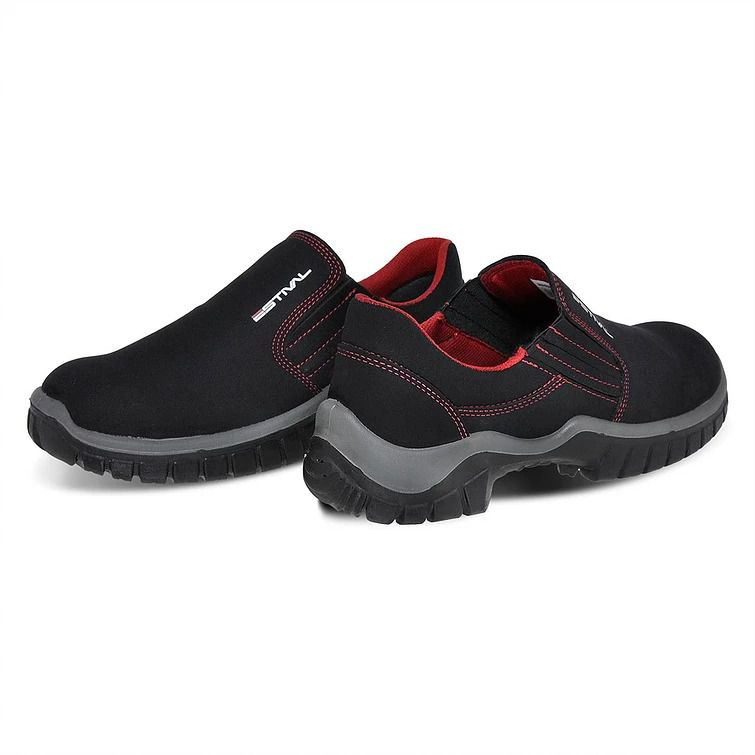 Sapato Segurança Microfibra Preto/Vermelho Estival WO10023 Bico Composite CA 32293