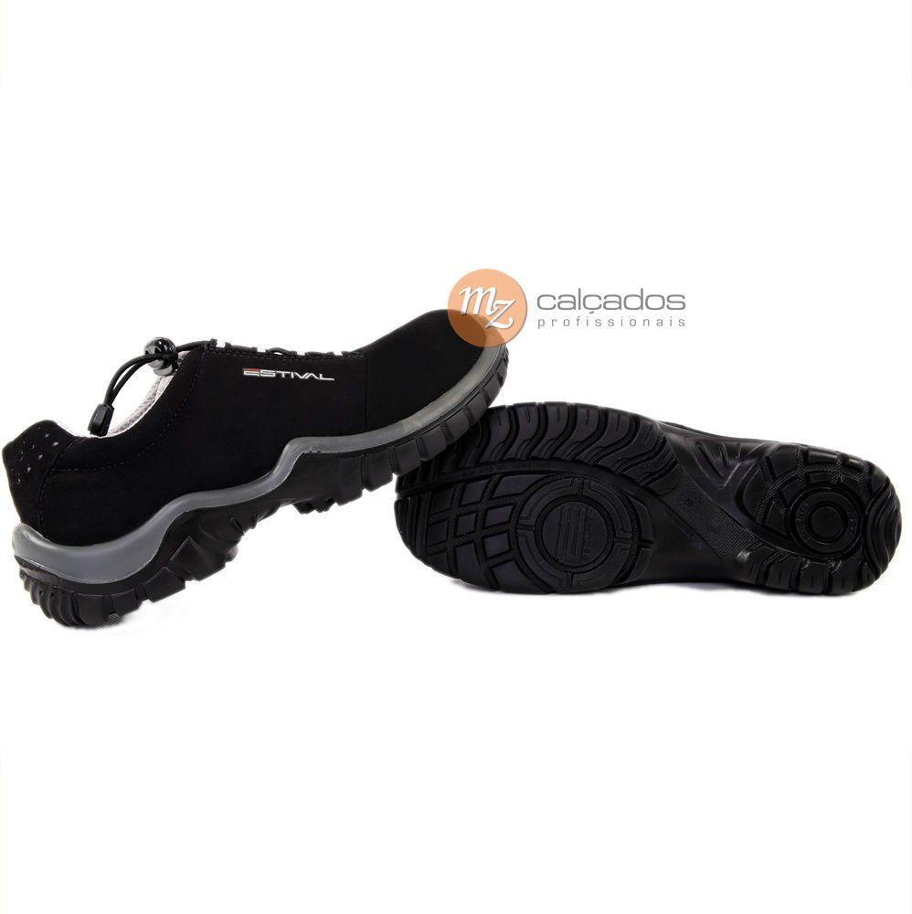 Sapato Segurança Microfibra Preto/Cinza Estival EN10023S2L Bico Composite Palmilha Anti Perfuro CA: 40516