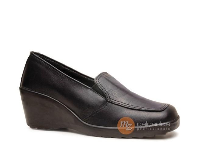 Sapato Segurança Social Feminino Couro Preto Salto Anabela Femme Fujiwara 2230HFEB6600FF CA 29564