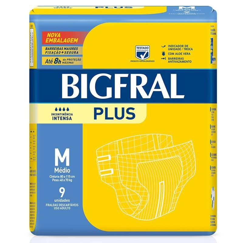 Fralda Plus Geriátrica M (Pacote c/ 9 Unidades) - BIGFRAL